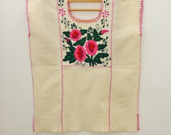 Cute Pink Flowers/ Embroidered Mexican Blouse