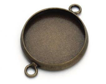 20pcs Round Antique Bronze Connector Pendant Trays - Double Loop 10-20mm Bezels Trays