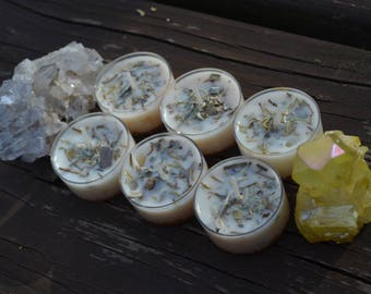 Set of 2 Protection Spell Candles- Herb infused soy tealight candles