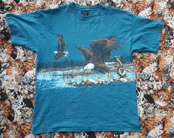 Vintage 1992 American Bald Eagle Shirt Size XL Double Sided Print