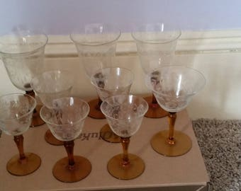 Vintage etched glasses with brown stems