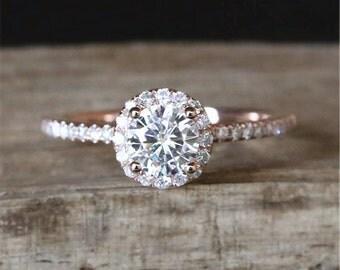 0.5ct Forever Brilliant Moissanite Engagement Ring 5mm Round Cut Moissanite Ring Half Eternity Diamonds Wedding Ring 14K Rose Gold Ring