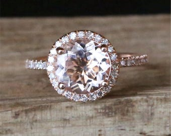 Classical Morganite Engagement Ring Natural 8mm Round Cut Morganite Ring Halo Diamonds Stackable 14K Rose Gold Engagement Ring Promise Ring
