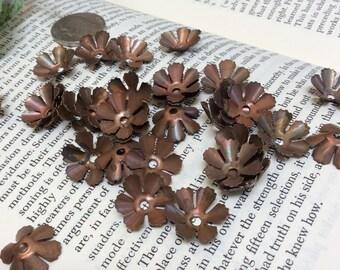 Antique cup shape metal flowers - 32 pieces - #803