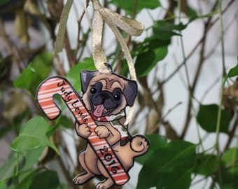 Handmade Christmas Pug Ornament with customizable name