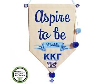 Kappa Kappa Gamma Sorority Motto Pennant Flag - Kappa Aspire To Be Motto - Canvas Banner - KKG Canvas Flag - Personalized Name - Kappa Gift