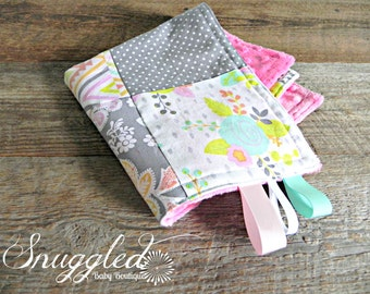Spring Floral Patchwork Minky Security Blanket/ Lovey