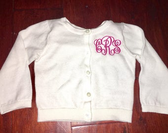 Baby or toddler cardigan with monogram!