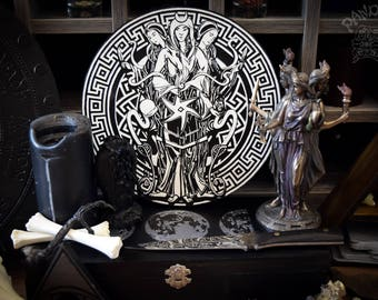 Altar pentacle, Hecate, Hecate symbol, Black and White