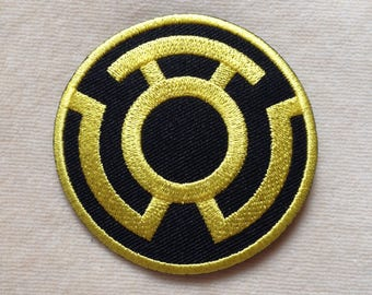 Sinestro Super Hero Logo Iron On Patch #Black With Yellow