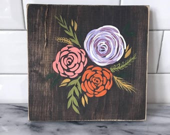 Hand Painted Flowers // Wooden Sign // Wall Decor // Spring Decor // Hand Painted Flowers // Floral Decor // Kitchen Decor