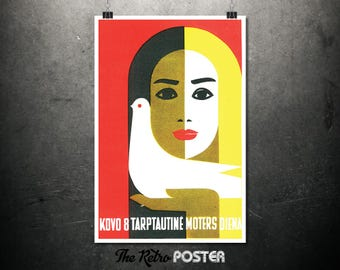 Kovo 8 Tarptautine Moters Diena - Lithuanian International Women's Week - International Women's Day, Advertising, Poster Vintage, Antique
