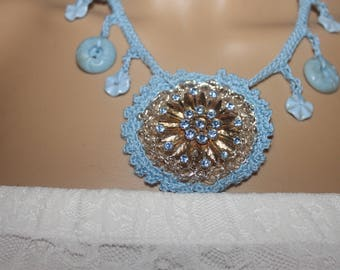 Brooch Button Necklace ---- GORGEOUS ---- One of a Kind---- LIGHT BLUE --- free shipping