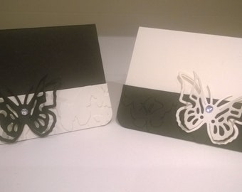 Little notelets/party place cards/ - black and white