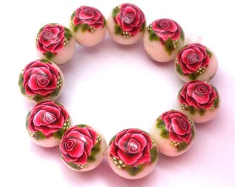 11 polymer clay beads, floral, rose with leaf, romantic rose, handmade beads