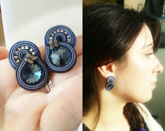 Chic earrings with swarovski crystals soutache montana blu