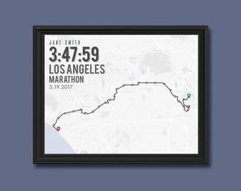 Los Angeles Marathon Print   Customizable   Running Wall Decor