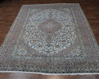 Gorgeous Hand Knotted Traditional Light Kashan Persian Rug Oriental Carpet 10X13