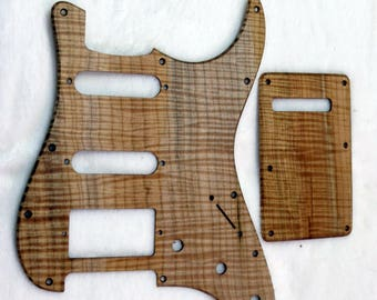 Flamed Spalted Maple Wooden Stratocaster Strat SSH Pickguard Set with Backplate #375
