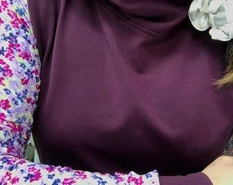 Burgundy with floral sleeve, hoodie, hoodies, long Sweater Hoodie