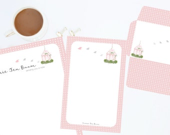 Pink Personalized Editable Stationery Set, Printable Stationery, Birdcage Stationery Set