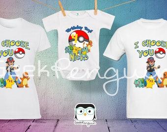 Pokemon Birthday Shirt Add Name & Age Pokemon Custom Birthday Party TShirt, Pokemon party shirt, Pokemon shirts,