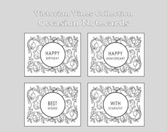 Victorian Vines Occasion Notecards in gray (Set of 8)