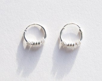 Tiny silver hoops - tiny hoops - silver hoops - silver hoop earrings - thin silver hoops - cartilage hoops - small silver hoops - A51398