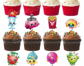 Shopkins Cut-out Double Sided Cupcake Picks Cake Toppers 12 pcs