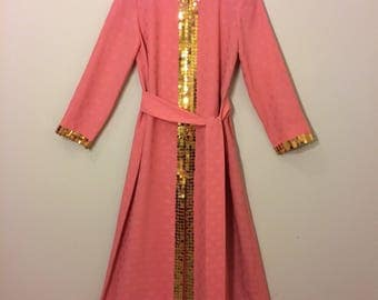 Pink sequined 1970s caftan maxi dress