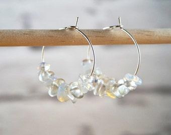 Rainbow Moonstone Hoop Earrings, Gemstone Hoop Earrings, June Birth Stone Earrings, Gemstone Beaded Earrings, Beaded Hoop Earrings
