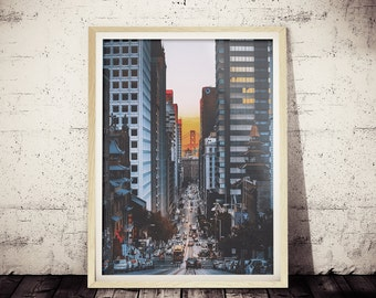 California Street Photograph, Golden Gate Bridge Picture, Photographic Art Print of California Street, San Francisco, USA, Wall Decor Print