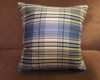 Pair (2) Blue and Light Yellow Pillows
