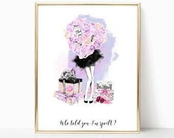 vanity decor, fashion illustration, fashion art, fashion print, watercolor fashion print, for her, bedroom decor, prints, bathroom decor
