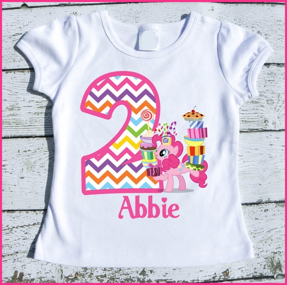 Custom Personalized Pinkie Pie Pony Birthday tee shirt Chevron