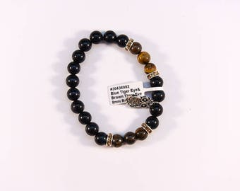 Delightful Blue and Brown Tigers eye bracelet.