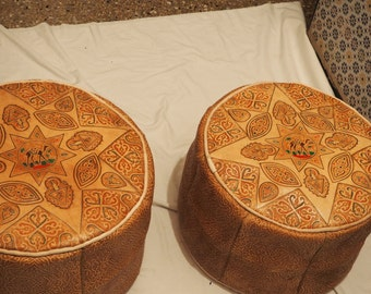 set of 2 pouf,moroccan leather poufs,ottoman handmade - Unfilled