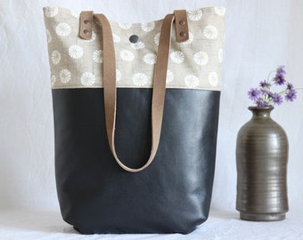 Shoulder bag leather and canvas, black and beige