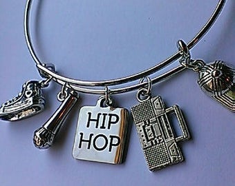 Hip Hop themed expandable bangle, women ,teen, music, trendy, rap,charm bracelet, inexpensive gift, silver