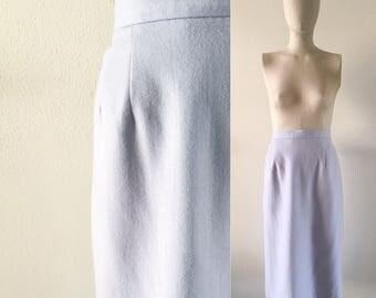vintage 1980s skirt • pencil skirt • periwinkle blue