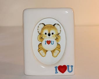 Vintage Gibson Greeting Cards Photo Frame Kirby Koala Ceramic