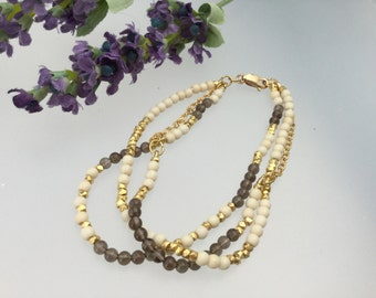 Beaded bracelet /stone beads/gold/tan howlite/gold chain/rolled gold/beads /bracelet /