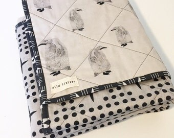Modern Wholecloth Baby Quilt-Baby Quilt for Sale-Gender Neutral Baby Quilt-Baby Blanket for Sale-Handmade Baby Quilt-Penguins-Baby Bedding