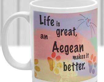 Aegean cat mug, Aegean cat gift, ideal present for cat lover