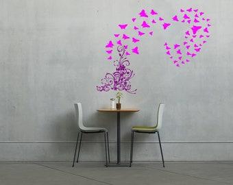 Flowers to butterfly heart wall vinyl