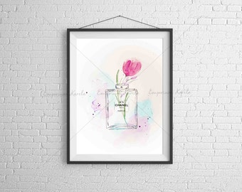 Watercolor - PRINTABLE - handmade - Chanel 5