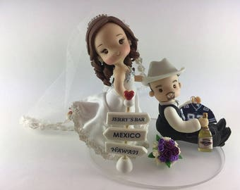 Cake topper for wedding, tequila wedding topper