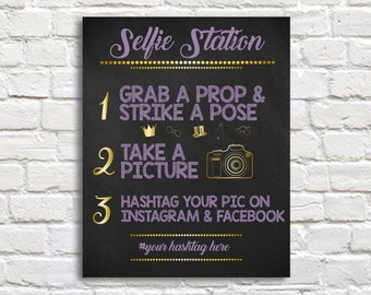 Selfie Station Sign, Photo Booth Prop, Wedding Party Sign,  (Digital File Only)