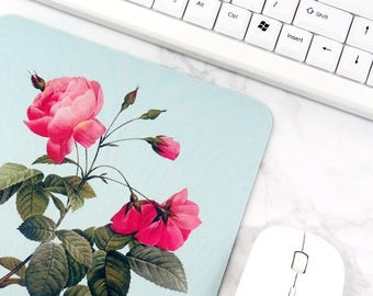 Antique Flower Mousepad Pink Floral Office Decor For Women