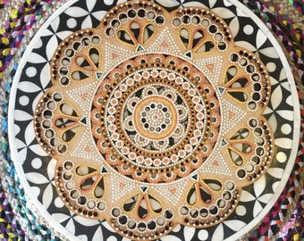 Bohemian Hand Painted Wooden Laser Cut Mandala Wall Hanging